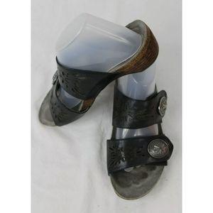 Womens Slip On Abeo Poppy Black Leather Sandals Sz